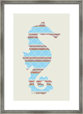 Blue Stripe Seahorse Art Framed Print by Christina Rollo