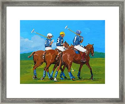 Blue Team Framed Print by Janina  Suuronen
