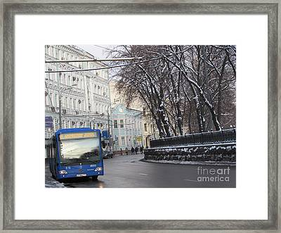 Blue Trolleybus Framed Print by Anna Yurasovsky