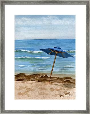 Blue Umbrella Framed Print by Nancy Patterson