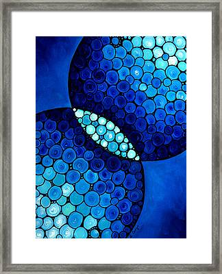 Underwater Diva Framed Print featuring the painting Blue Unity by Sharon Cummings