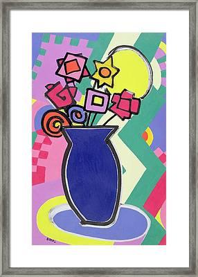 Blue Vase Framed Print by Bodel Rikys