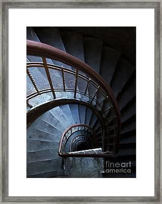 Blue Vintage Staircase Framed Print by Jaroslaw Blaminsky