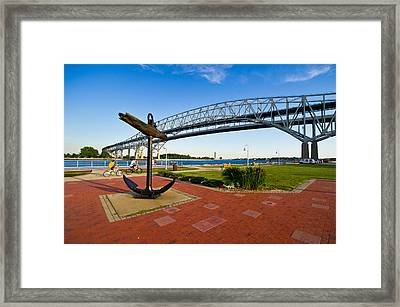 Blue Water Bridge At Port Huron Framed Print by Panoramic Images