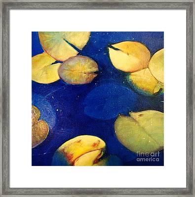 Blue Water Lillies Framed Print by Elizabeth  Bogard