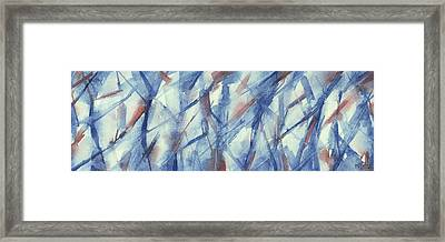 Blue White And Coral Abstract Panoramic Painting Framed Print by Beverly Brown