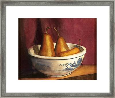 Blue Willow With Pears Framed Print by Cindy Plutnicki