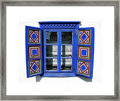 Blue Window Handmade Framed Print by Daliana Pacuraru