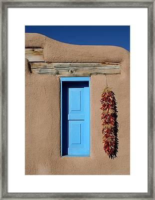 Blue Window Of Taos Framed Print by Heidi Hermes
