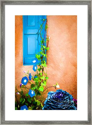 Blue Window - Painted Framed Print by Bob and Nancy Kendrick
