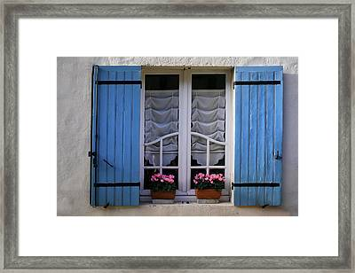 Blue Window Shutters Framed Print by Georgia Fowler