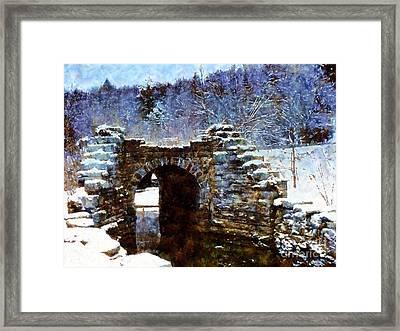 Blue Winter Stone Bridge Framed Print by Janine Riley