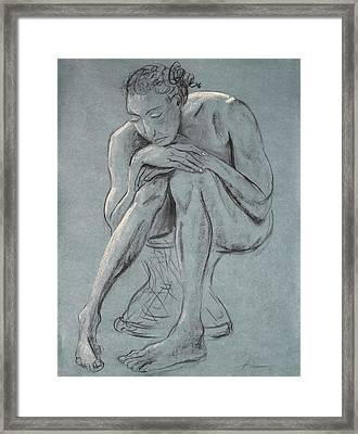 Blue Woman Of Melancholy Framed Print by Asha Carolyn Young