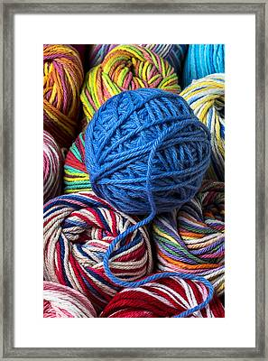 Blue Yarn Framed Print by Garry Gay
