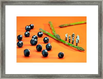 Blueberry Protesting Framed Print by Paul Ge