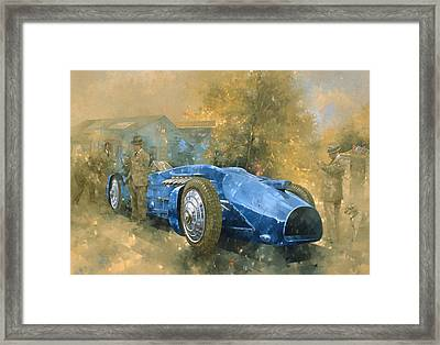 Bluebird At Brooklands Oil On Canvas Framed Print by Peter Miller