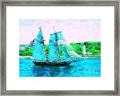 Bluenose Schooner In Halifax Framed Print by John Malone