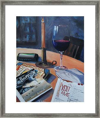 Blues And Wine Framed Print by Donna Tuten