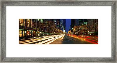 Blurred Motion, Cars, Michigan Avenue Framed Print by Panoramic Images