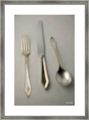 Blurry Silver Cutlery Framed Print by Beverly Brown Prints