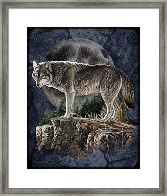 Bm Wolf Moon Framed Print by JQ Licensing