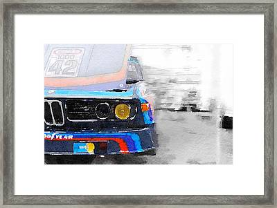 Bmw Lamp And Grill Watercolor Framed Print by Naxart Studio