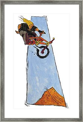 Bmx Drawing Framed Print by Mike Jory