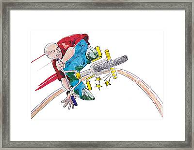 Bmx Drawing Peg Grind Framed Print by Mike Jory