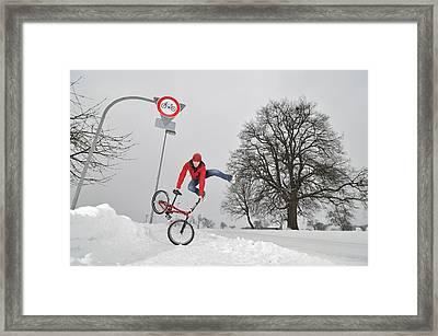Bmx Flatland In The Snow - Monika Hinz Jumping Framed Print by Matthias Hauser