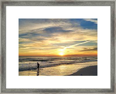 Boarding In The Sunset Framed Print by Katie Theien