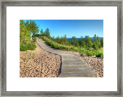 Boardwalk Through The Dunes Framed Print by Twenty Two North Photography