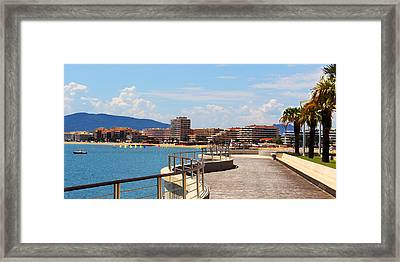 Boardwalk View In Saint-rafael French Riviera Framed Print by Ben and Raisa Gertsberg