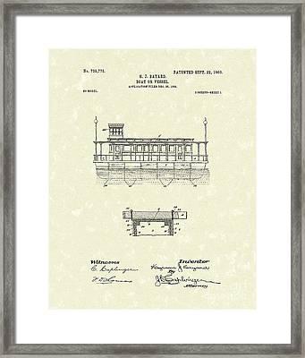 Boat 1903 Patent Art Framed Print by Prior Art Design