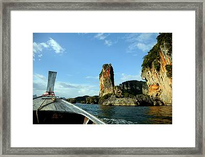 Boat And Rock Framed Print by Money Sharma