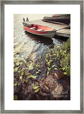 Boat At Dock  Framed Print by Elena Elisseeva