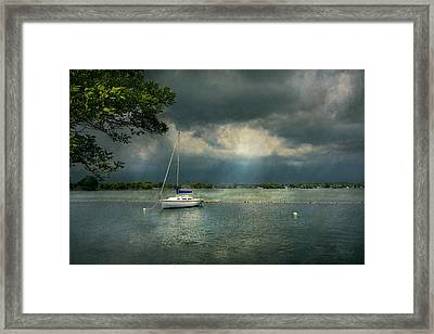 Boat - Canandaigua Ny - Tranquility Before The Storm Framed Print by Mike Savad