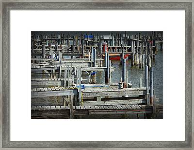 Boat Docks In Lake Macatawa Framed Print by Randall Nyhof