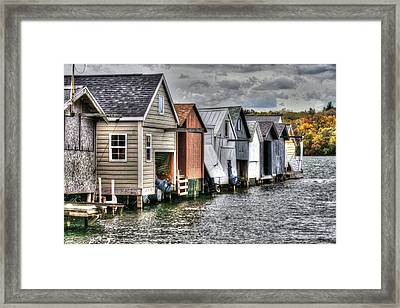 Boat Houses Framed Print by Michael Allen