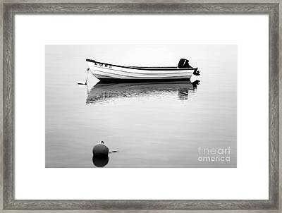 Boat In The Bay Bw Framed Print by John Rizzuto