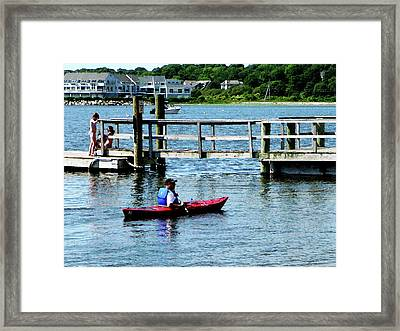 Boat - Kayaking At Bristol Ri Framed Print by Susan Savad