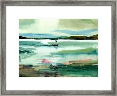 Boat N Creek Framed Print by Anil Nene