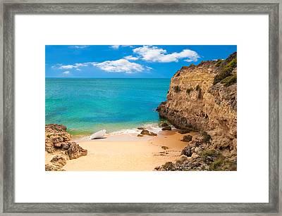 Boat On Beach Algarve Portugal Framed Print by Amanda And Christopher Elwell