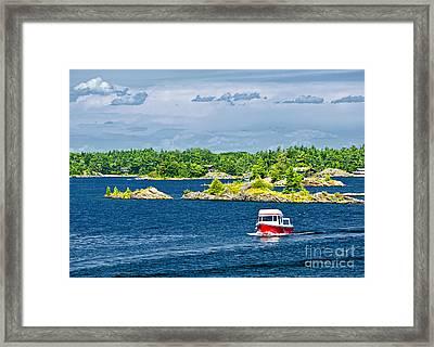 Boat On Georgian Bay Framed Print by Elena Elisseeva
