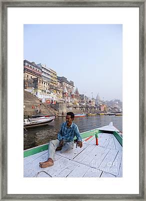 Boat On The River Ganges At Varanasi In India Framed Print by Robert Preston