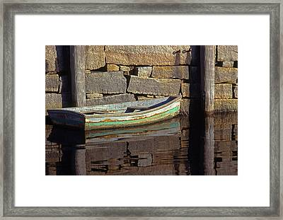 Boat Rockport Harbor Massachussetts Framed Print by Tony Ramos