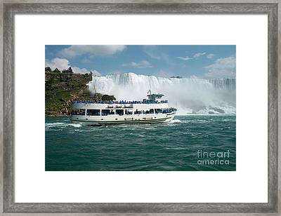 Boat Ship Taking Travellers To Niagara Falls View From Casino Casinorama  Ontario Canada Vacation Tr Framed Print by Navin Joshi