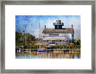 Boat - Tuckerton Seaport - Tuckerton Lighthouse Framed Print by Mike Savad