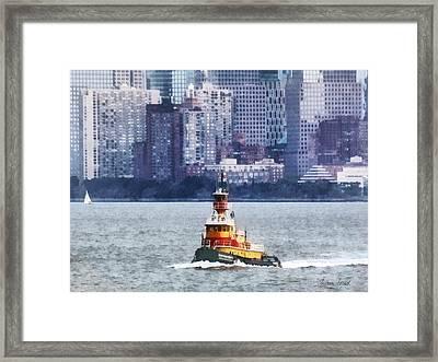 Boat - Tugboat By Manhattan Skyline Framed Print by Susan Savad