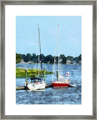 Boat - Two Docked Sailboats Norwalk Ct Framed Print by Susan Savad
