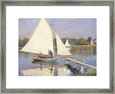 Boaters At Argenteuil Framed Print by Claude Monet